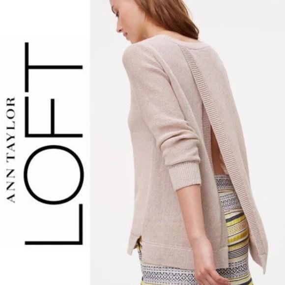 LOFT Sweaters - Ann Taylor Loft Khaki Knit Sweater Open Back